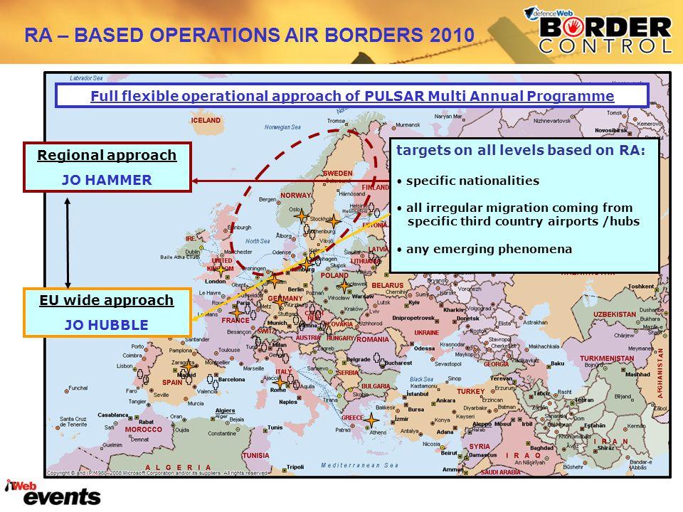 EU wide approach JO HUBBLE Regional approach JO HAMMER Full flexible operational approach of PULSAR Multi Annual Programme targets on all levels based