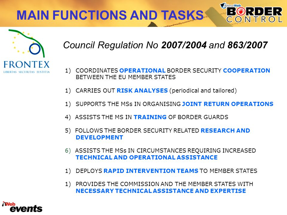 MAIN FUNCTIONS AND TASKS Council Regulation No 2007/2004 and 863/2007 1)COORDINATES OPERATIONAL BORDER SECURITY COOPERATION BETWEEN THE EU MEMBER STAT