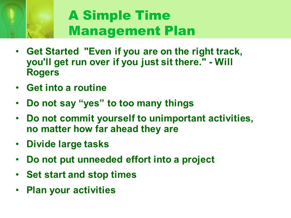 A Simple Time Management Plan Get Started