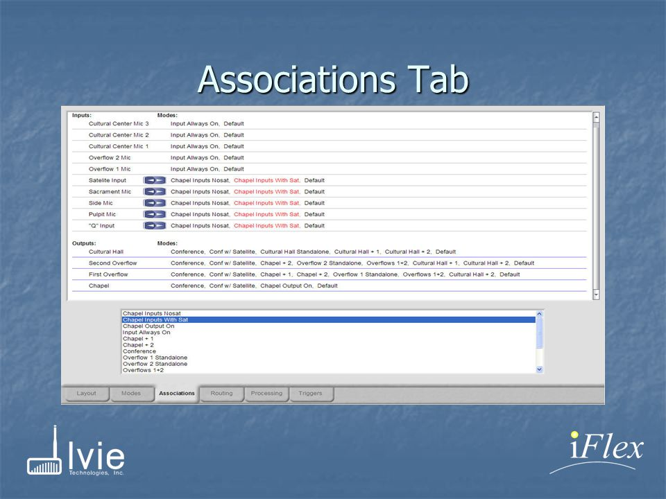 Associations Tab