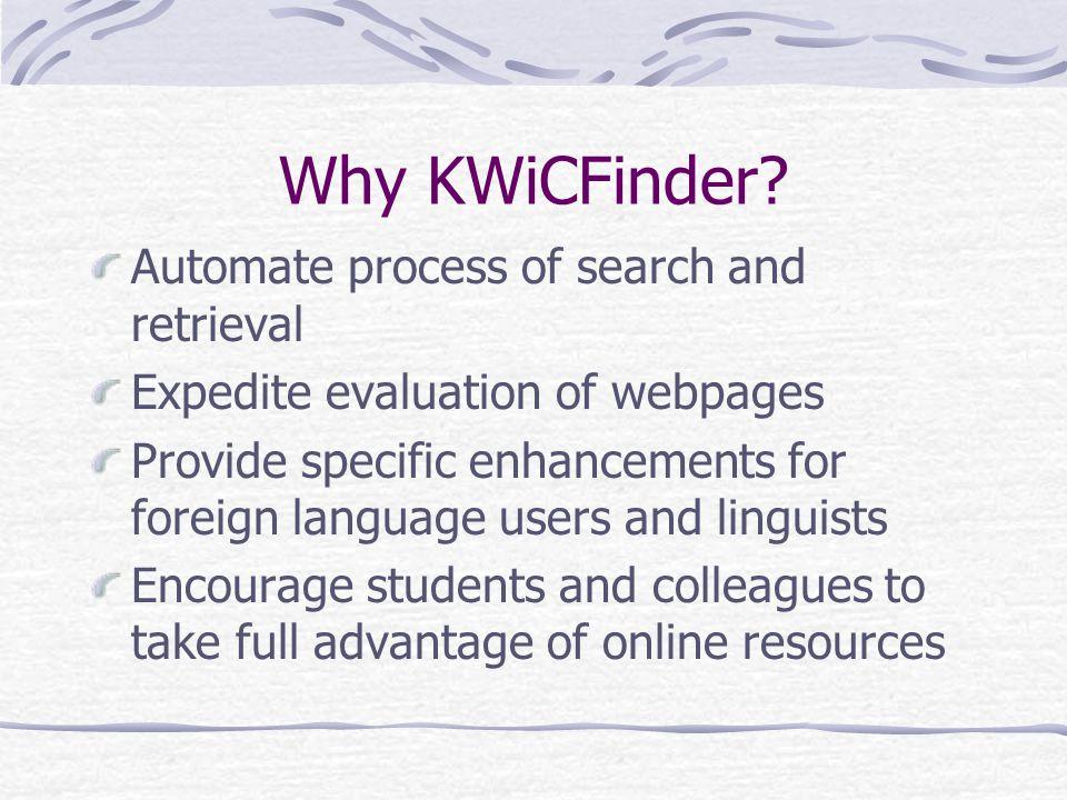 Why KWiCFinder.
