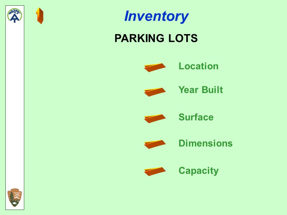 Inventory PARKING LOTS Location Year Built Surface Dimensions Capacity