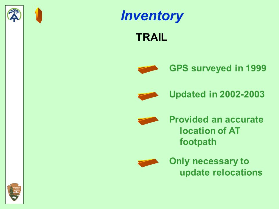 Inventory TRAIL GPS surveyed in 1999 Updated in 2002-2003 Provided an accurate location of AT footpath Only necessary to update relocations