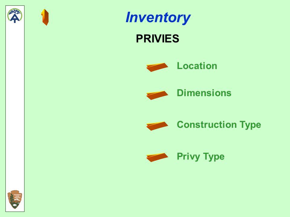 Inventory CAMPSITES Location Dimensions Capacity Type designated, user created, bootleg/illegal