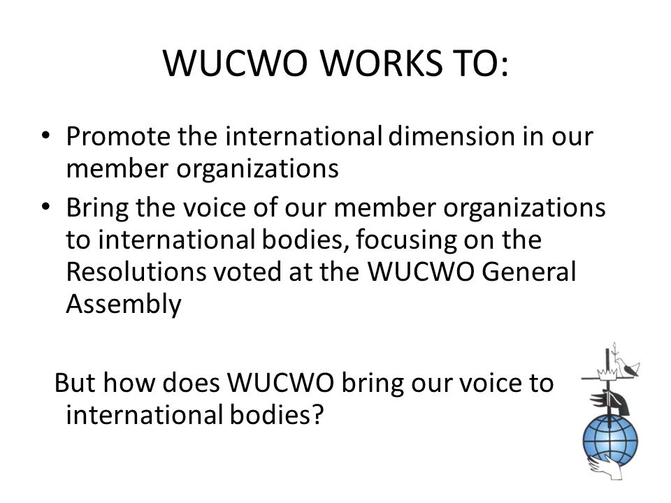 WHO REPRESENTS WUCWO AT ECOSOC AT THE UN IN NEW YORK? Anne Manice Joan Triulzi