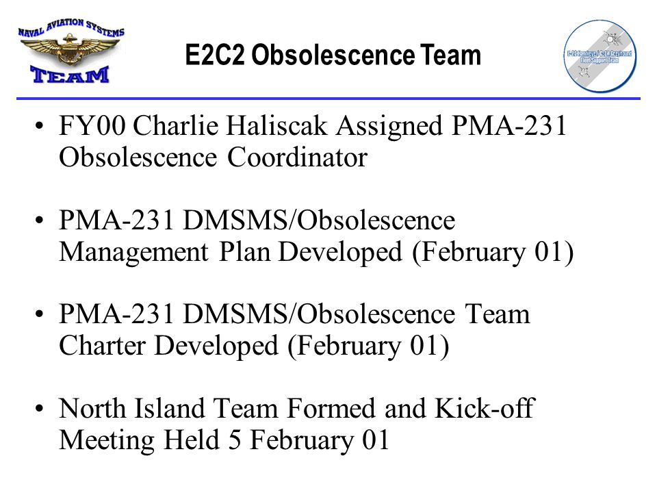 FY00 Charlie Haliscak Assigned PMA-231 Obsolescence Coordinator PMA-231 DMSMS/Obsolescence Management Plan Developed (February 01) PMA-231 DMSMS/Obsolescence Team Charter Developed (February 01) North Island Team Formed and Kick-off Meeting Held 5 February 01 E2C2 Obsolescence Team