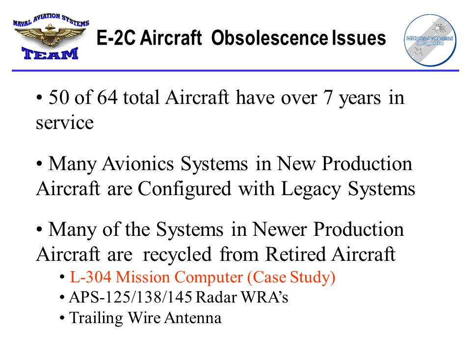 50 of 64 total Aircraft have over 7 years in service Many Avionics Systems in New Production Aircraft are Configured with Legacy Systems Many of the Systems in Newer Production Aircraft are recycled from Retired Aircraft L-304 Mission Computer (Case Study) APS-125/138/145 Radar WRA's Trailing Wire Antenna E-2C Aircraft Obsolescence Issues
