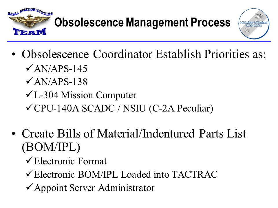 Obsolescence Coordinator Establish Priorities as: AN/APS-145 AN/APS-138 L-304 Mission Computer CPU-140A SCADC / NSIU (C-2A Peculiar) Create Bills of Material/Indentured Parts List (BOM/IPL) Electronic Format Electronic BOM/IPL Loaded into TACTRAC Appoint Server Administrator Obsolescence Management Process