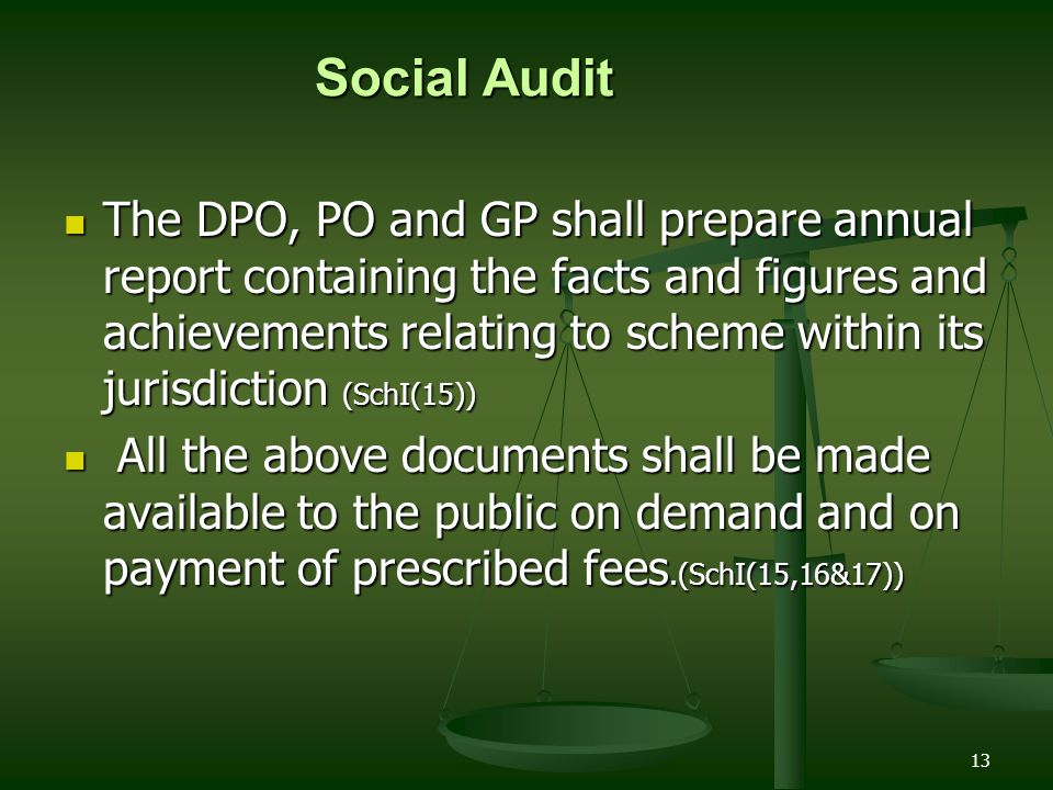13 The DPO, PO and GP shall prepare annual report containing the facts and figures and achievements relating to scheme within its jurisdiction (SchI(1