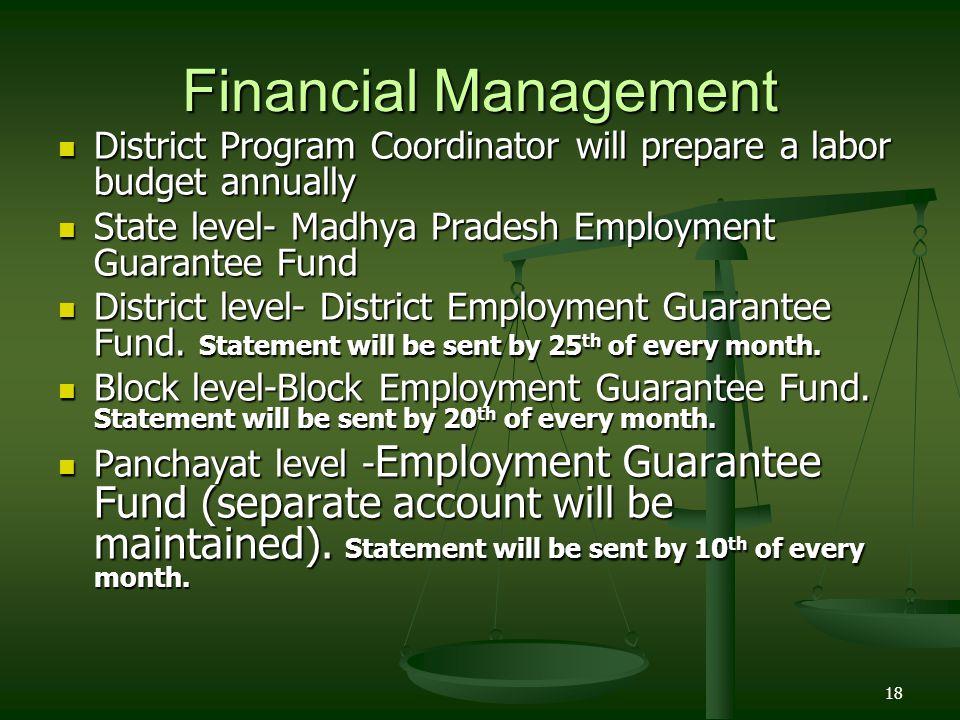 18 Financial Management District Program Coordinator will prepare a labor budget annually District Program Coordinator will prepare a labor budget ann