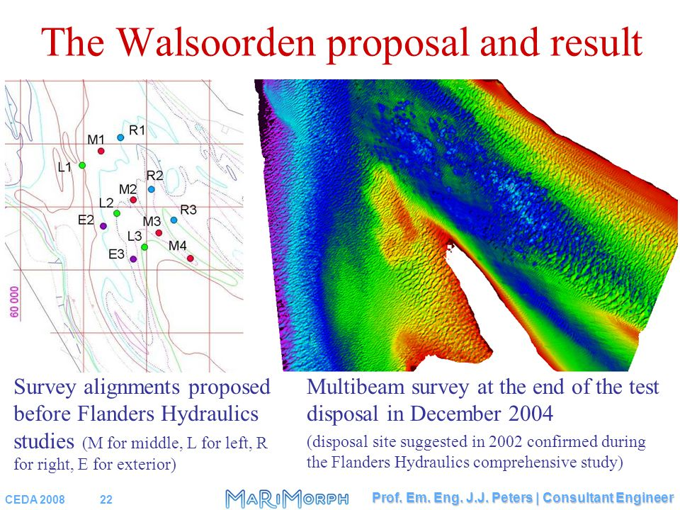 CEDA 200822 Prof. Em. Eng. J.J. Peters | Consultant Engineer The Walsoorden proposal and result Survey alignments proposed before Flanders Hydraulics