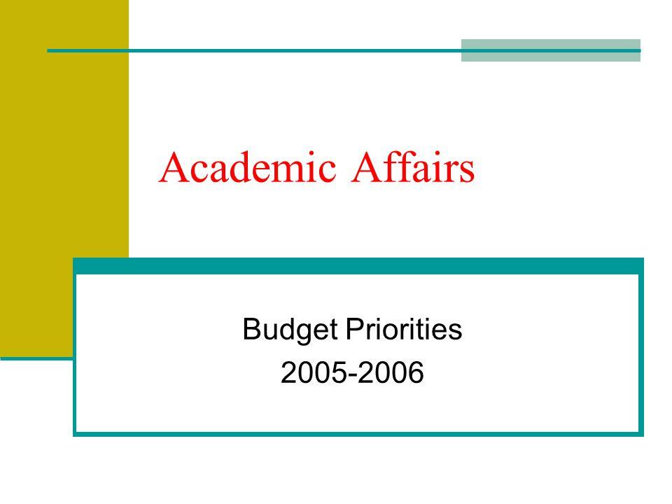 Academic Affairs Budget Priorities 2005-2006