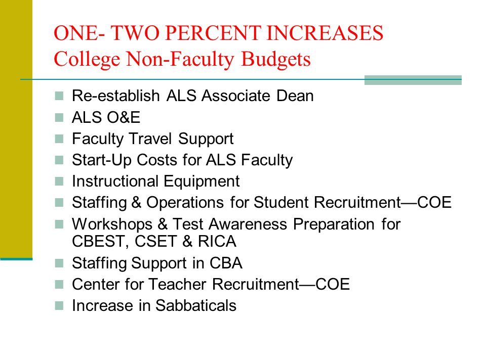 ONE- TWO PERCENT INCREASES College Non-Faculty Budgets Re-establish ALS Associate Dean ALS O&E Faculty Travel Support Start-Up Costs for ALS Faculty Instructional Equipment Staffing & Operations for Student Recruitment—COE Workshops & Test Awareness Preparation for CBEST, CSET & RICA Staffing Support in CBA Center for Teacher Recruitment—COE Increase in Sabbaticals