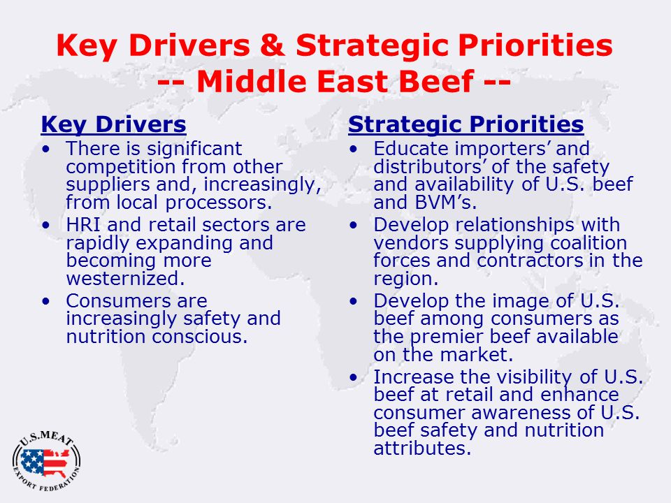 Key Drivers & Strategic Priorities -- Middle East Beef -- Key Drivers There is significant competition from other suppliers and, increasingly, from local processors.