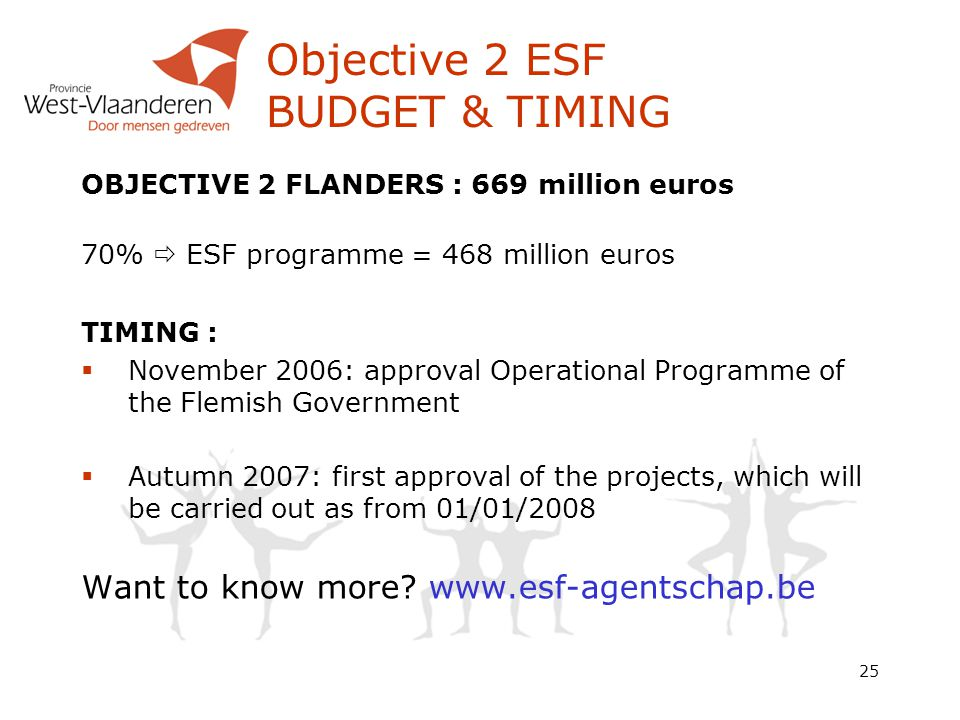 25 Objective 2 ESF BUDGET & TIMING OBJECTIVE 2 FLANDERS : 669 million euros 70%  ESF programme = 468 million euros TIMING :  November 2006: approval Operational Programme of the Flemish Government  Autumn 2007: first approval of the projects, which will be carried out as from 01/01/2008 Want to know more.