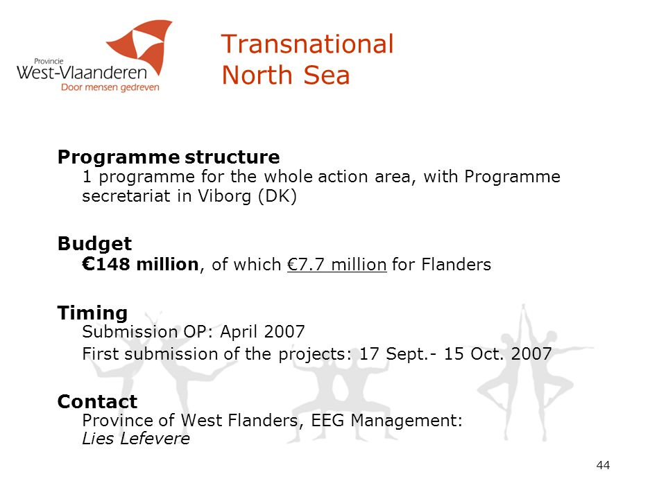 44 Programme structure 1 programme for the whole action area, with Programme secretariat in Viborg (DK) Budget € 148 million, of which €7.7 million for Flanders Timing Submission OP: April 2007 First submission of the projects: 17 Sept.- 15 Oct.
