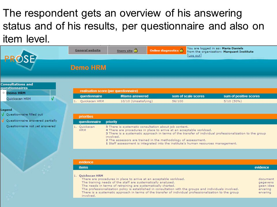 The respondent gets an overview of his answering status and of his results, per questionnaire and also on item level.