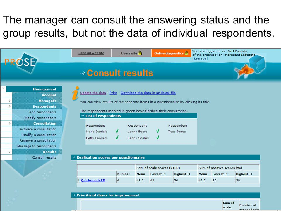 The manager can consult the answering status and the group results, but not the data of individual respondents.
