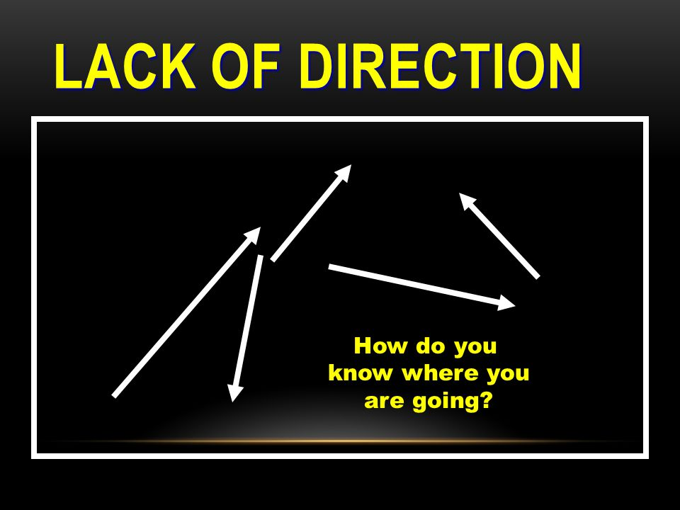 LACK OF DIRECTION How do you know where you are going?