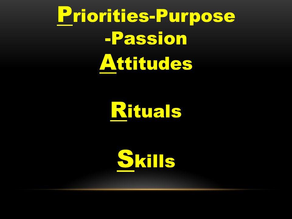 P riorities-Purpose -Passion A ttitudes R ituals S kills
