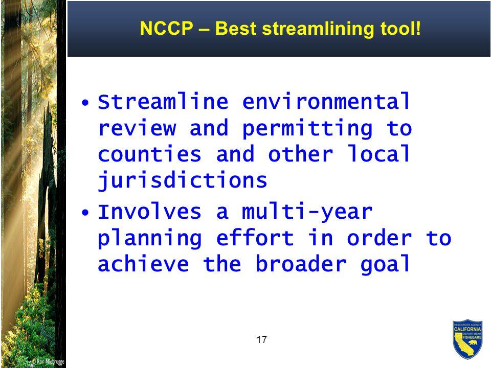 17 NCCP – Best streamlining tool.