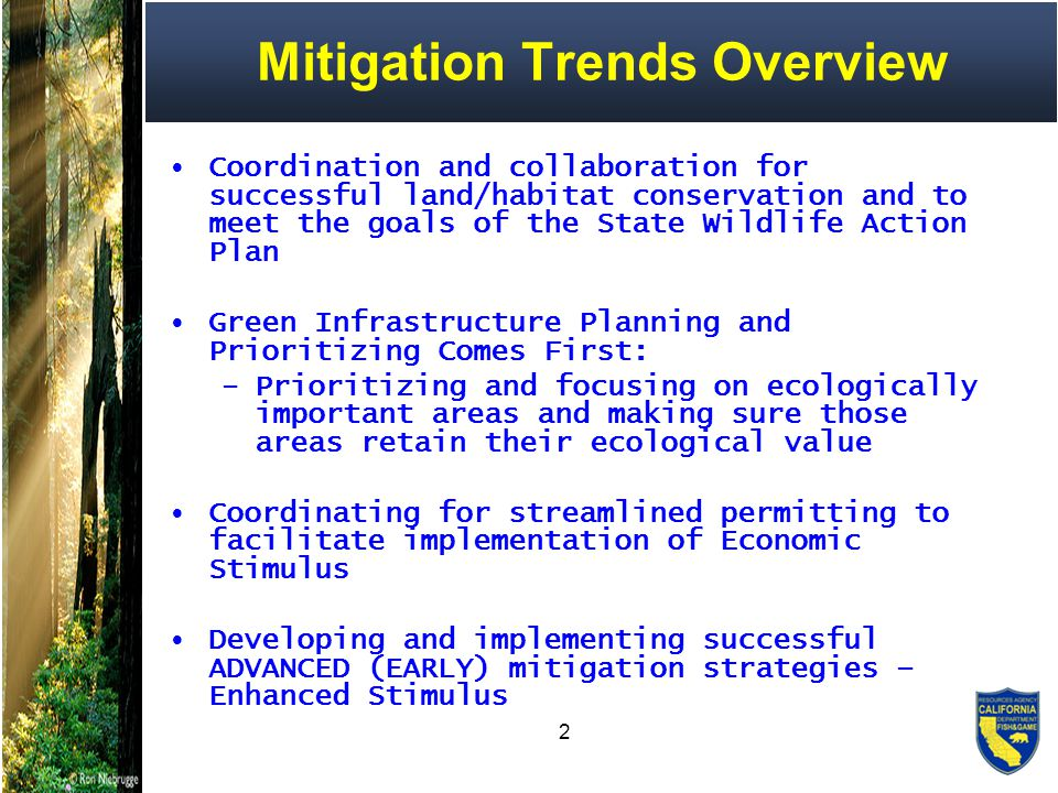 3 Mitigation Trends Overview Alternative mitigation options: re- establishing linkages, restoration, and retrofit Achieving net benefit, going beyond mitigation Mitigating Climate Change?.