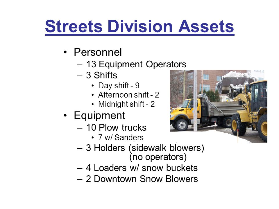 Streets Division Assets Personnel –13 Equipment Operators –3 Shifts Day shift - 9 Afternoon shift - 2 Midnight shift - 2 Equipment –10 Plow trucks 7 w