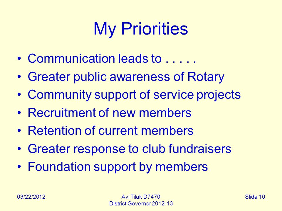 03/22/2012Avi Tilak D7470 District Governor 2012-13 Slide 10 My Priorities Communication leads to.....