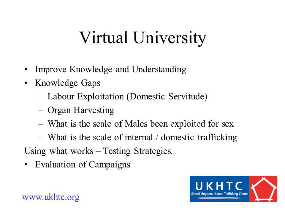 Virtual University Improve Knowledge and Understanding Knowledge Gaps –Labour Exploitation (Domestic Servitude) –Organ Harvesting –What is the scale of Males been exploited for sex –What is the scale of internal / domestic trafficking Using what works – Testing Strategies.