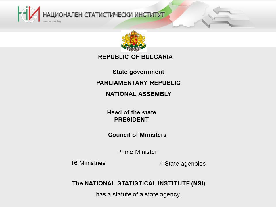 REPUBLIC OF BULGARIA State government PARLIAMENTARY REPUBLIC NATIONAL ASSEMBLY Head of the state PRESIDENT The NATIONAL STATISTICAL INSTITUTE (NSI) has a statute of a state agency.