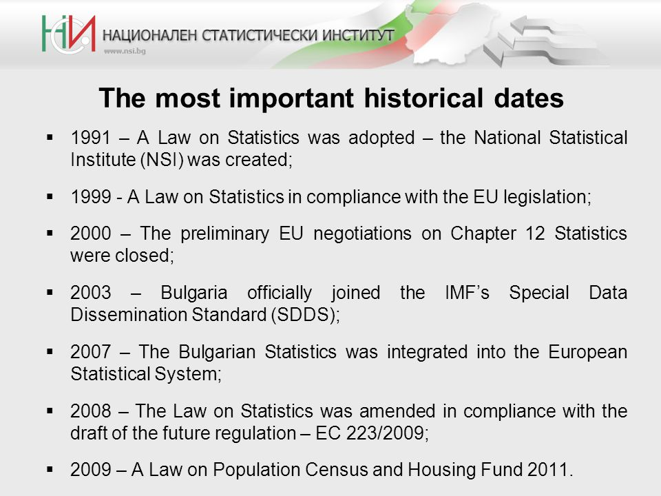  1991 – A Law on Statistics was adopted – the National Statistical Institute (NSI) was created;  1999 - A Law on Statistics in compliance with the EU legislation;  2000 – The preliminary EU negotiations on Chapter 12 Statistics were closed;  2003 – Bulgaria officially joined the IMF's Special Data Dissemination Standard (SDDS);  2007 – The Bulgarian Statistics was integrated into the European Statistical System;  2008 – The Law on Statistics was amended in compliance with the draft of the future regulation – EC 223/2009;  2009 – A Law on Population Census and Housing Fund 2011.