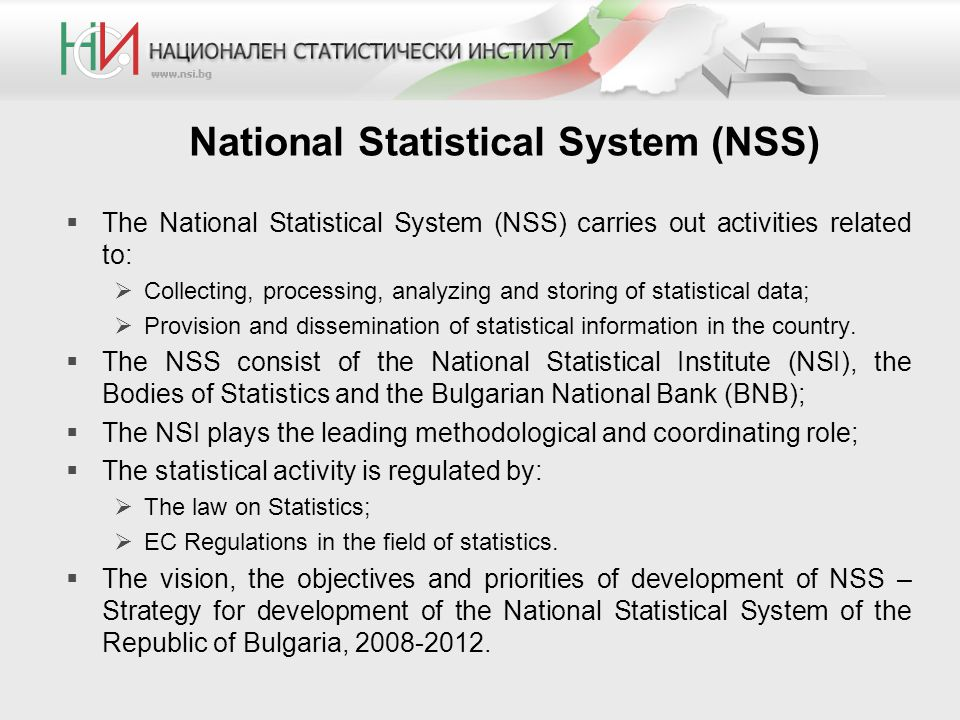 National Statistical System (NSS)  The National Statistical System (NSS) carries out activities related to:  Collecting, processing, analyzing and s