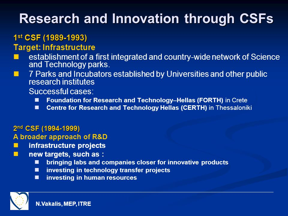 N.Vakalis, MEP, ITRE Research and Innovation through CSFs 1 st CSF ( ) Target: Infrastructure establishment of a first integrated and country-wide network of Science and Technology parks.
