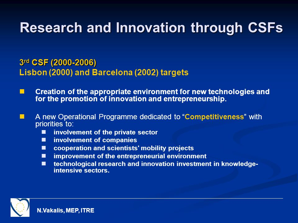 N.Vakalis, MEP, ITRE Research and Innovation through CSFs 3 rd CSF ( ) Lisbon (2000) and Barcelona (2002) targets Creation of the appropriate environment for new technologies and for the promotion of innovation and entrepreneurship.