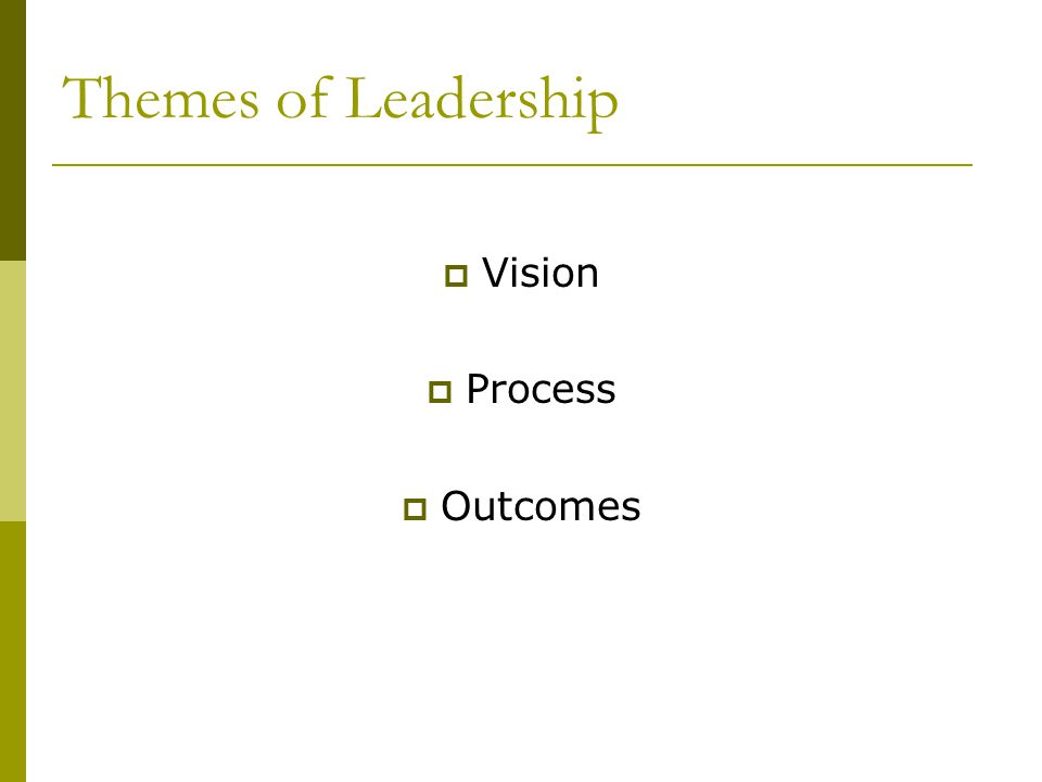 Themes of Leadership  Vision  Process  Outcomes