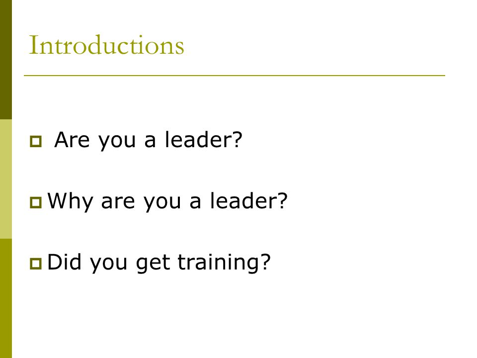 Introductions  Are you a leader?  Why are you a leader?  Did you get training?