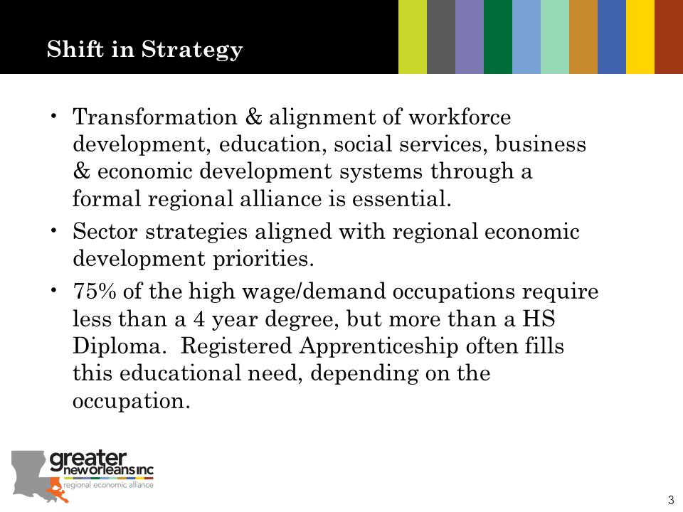 3 Shift in Strategy Transformation & alignment of workforce development, education, social services, business & economic development systems through a