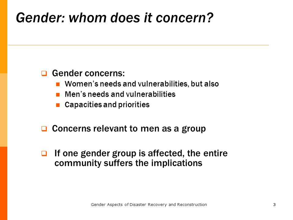 33  Gender concerns: Women's needs and vulnerabilities, but also Men's needs and vulnerabilities Capacities and priorities  Concerns relevant to men