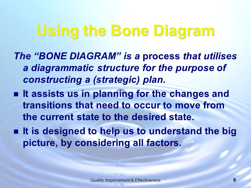 """Quality, Improvement & Effectiveness5 Using the Bone Diagram The """"BONE DIAGRAM"""" is a process that utilises a diagrammatic structure for the purpose of"""