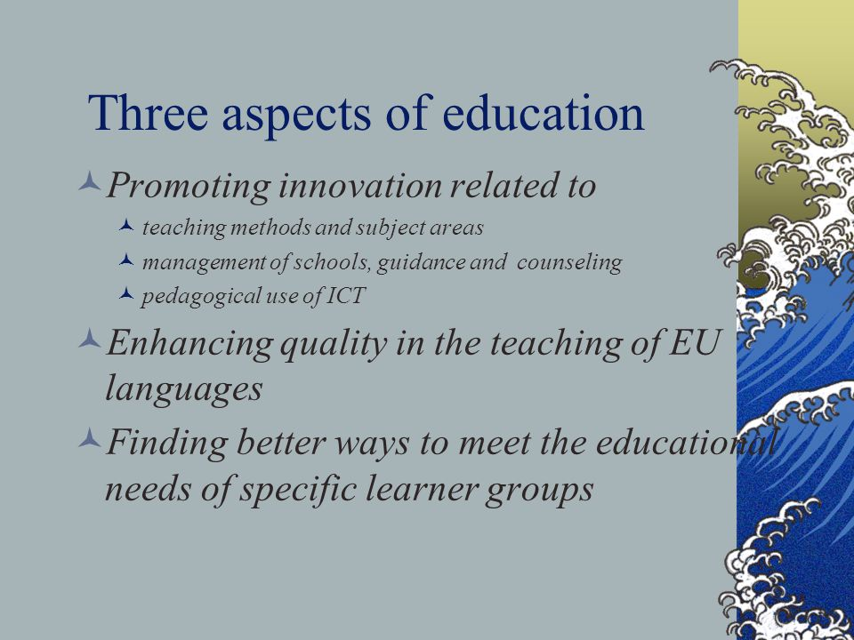 Three aspects of education Promoting innovation related to teaching methods and subject areas management of schools, guidance and counseling pedagogical use of ICT Enhancing quality in the teaching of EU languages Finding better ways to meet the educational needs of specific learner groups