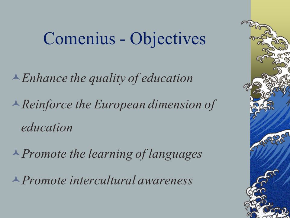 Comenius - Objectives Enhance the quality of education Reinforce the European dimension of education Promote the learning of languages Promote intercu
