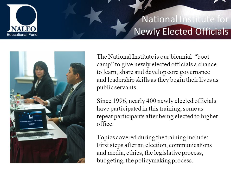 The National Institute is our biennial boot camp to give newly elected officials a chance to learn, share and develop core governance and leadership skills as they begin their lives as public servants.