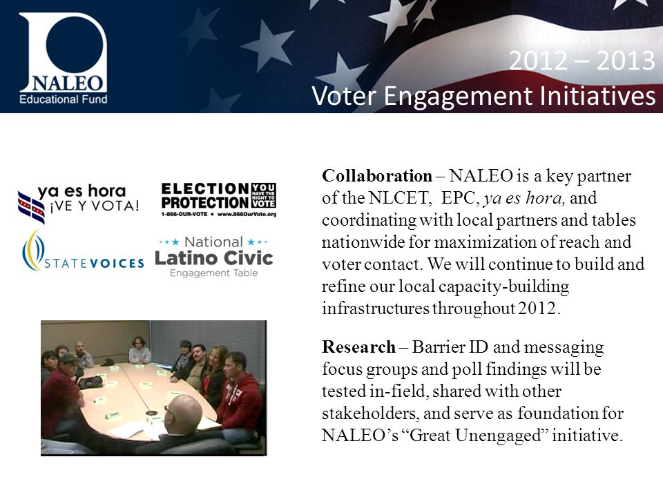 Collaboration – NALEO is a key partner of the NLCET, EPC, ya es hora, and coordinating with local partners and tables nationwide for maximization of reach and voter contact.
