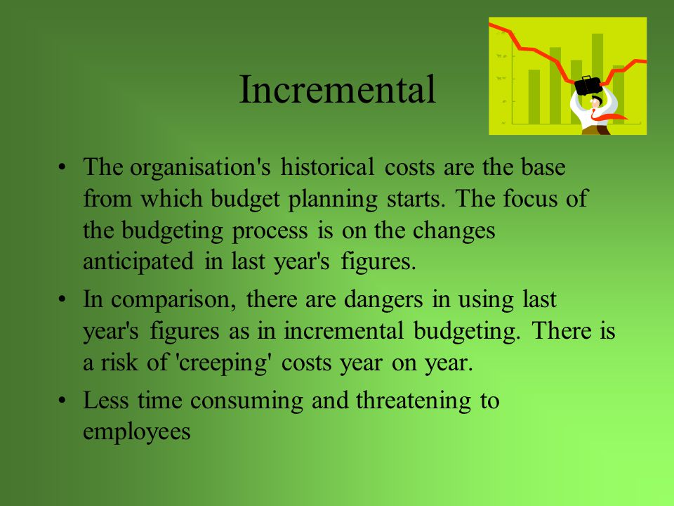 Incremental The organisation s historical costs are the base from which budget planning starts.