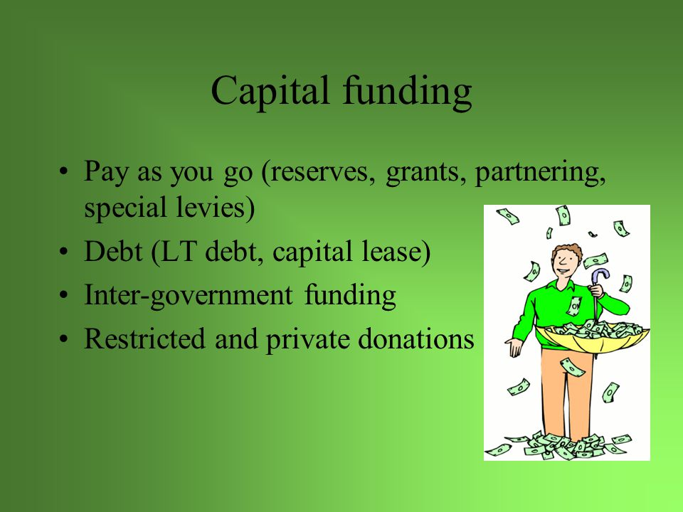 Capital funding Pay as you go (reserves, grants, partnering, special levies) Debt (LT debt, capital lease) Inter-government funding Restricted and private donations