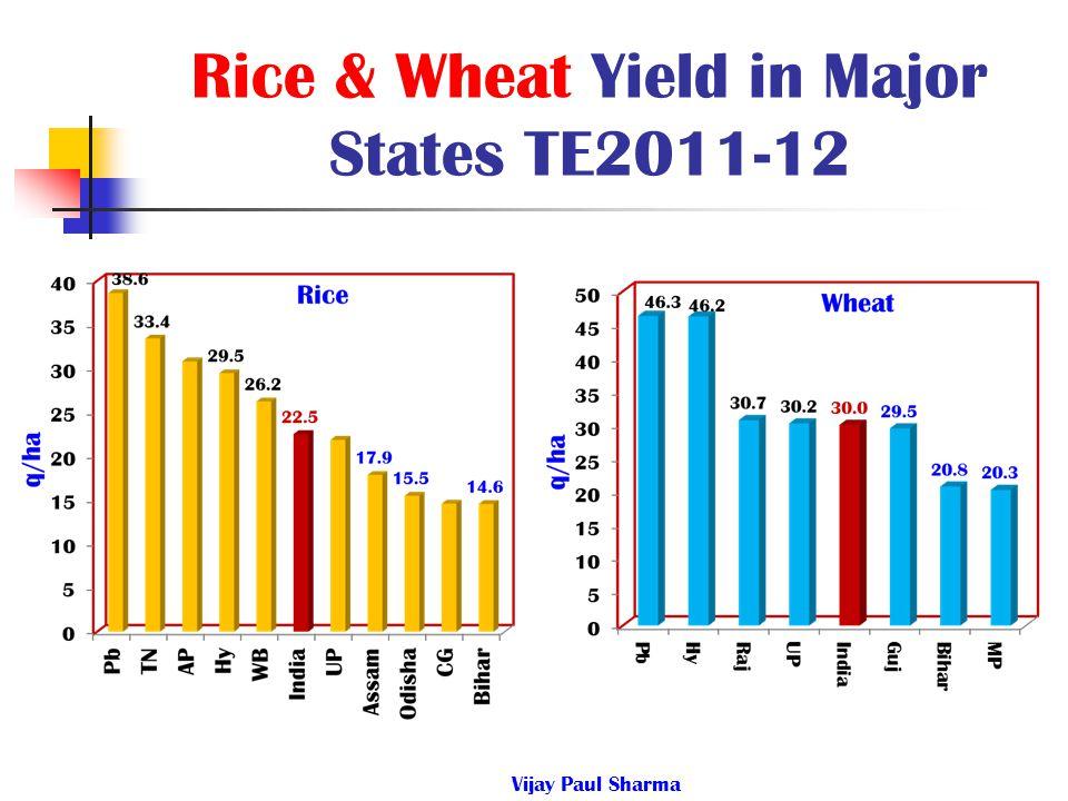 Rice & Wheat Yield in Major States TE2011-12 Vijay Paul Sharma