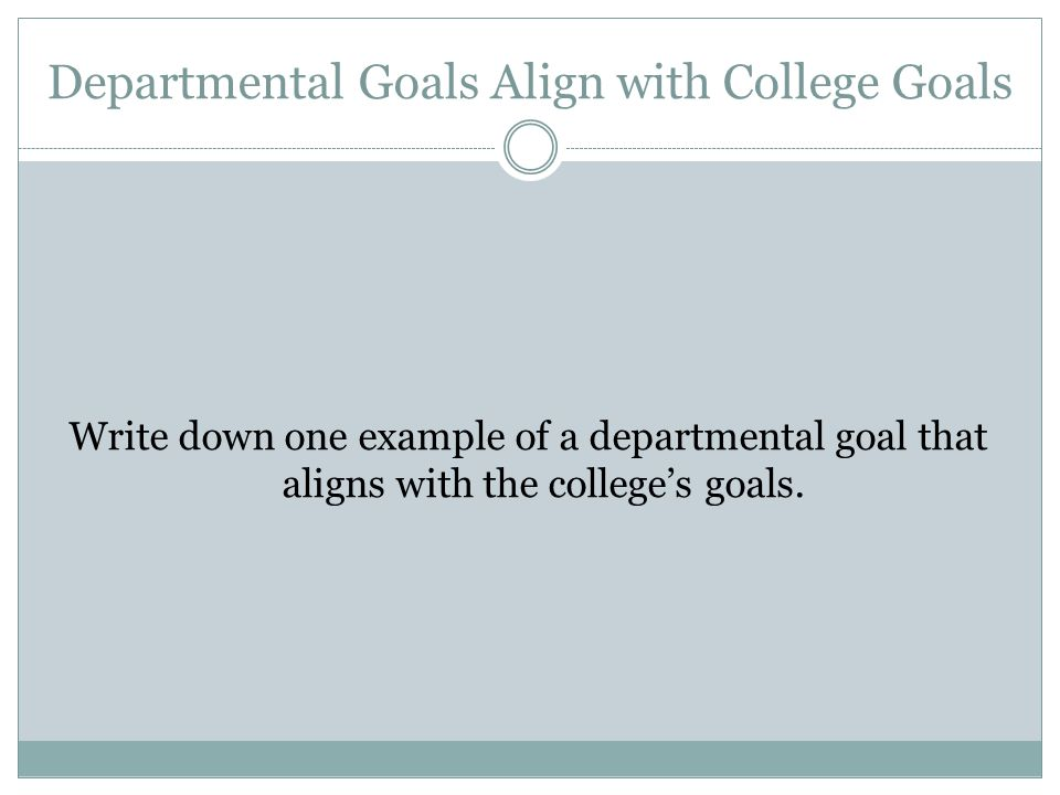 Departmental Goals Align with College Goals Write down one example of a departmental goal that aligns with the college's goals.