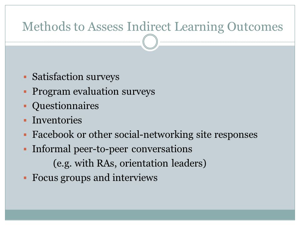 Methods to Assess Indirect Learning Outcomes  Satisfaction surveys  Program evaluation surveys  Questionnaires  Inventories  Facebook or other social-networking site responses  Informal peer-to-peer conversations (e.g.