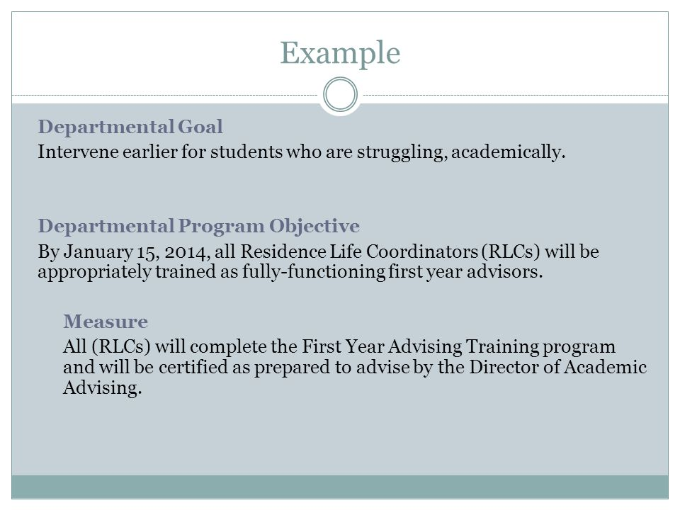Example Departmental Goal Intervene earlier for students who are struggling, academically.