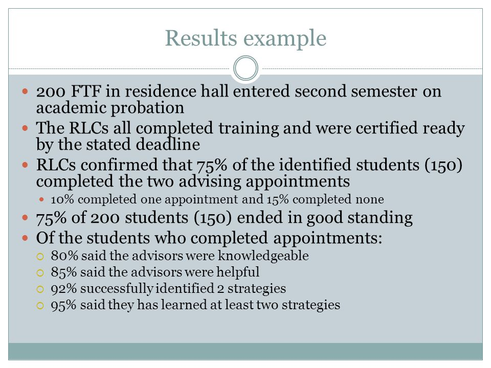Results example 200 FTF in residence hall entered second semester on academic probation The RLCs all completed training and were certified ready by the stated deadline RLCs confirmed that 75% of the identified students (150) completed the two advising appointments 10% completed one appointment and 15% completed none 75% of 200 students (150) ended in good standing Of the students who completed appointments:  80% said the advisors were knowledgeable  85% said the advisors were helpful  92% successfully identified 2 strategies  95% said they has learned at least two strategies